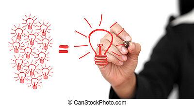 Brainstorming Concept - business Hand Writing Big Idea Team...