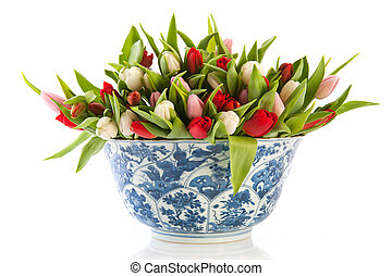 Antique Dutch bowl with tulips - Antique Dutch bowl in...