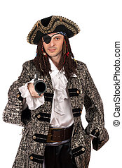 pirate with a pistol in hand - Portrait of man dressed as...