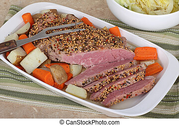 Corned Beef - Corned beef sliced with carrots and potatoes...