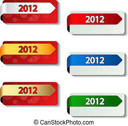Vector 2012 labels - new year stickers - EPS 10