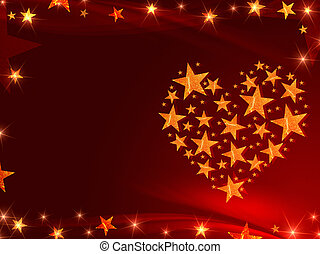 golden stars like heart - golden orange stars form heart...