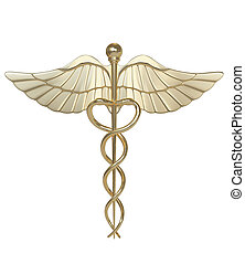 Caduceus-medical symbol - Caduseus symbol isolated on grey...