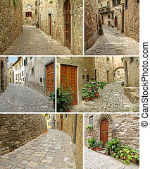 collage with picturesque paved narrow streets and houses, Montefioralle, Tuscany, Italy, Europe