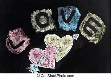 Love, hearts and arrow - Chalk drawing - Love, hearts and...