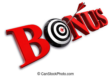 bonus red word and conceptual target with arrow on white...