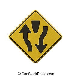 Traffic sign recycled paper - Dual Carriage Way Ahead...