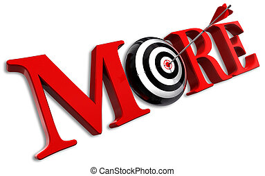 more red word and conceptual target with arrow on white...