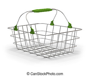 empty green metal basket over a white background