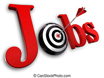 jobs red word and conceptual target with arrow on white...