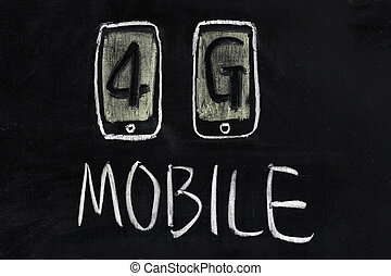 4g mobile communication technology - Chalk drawing - 4g...