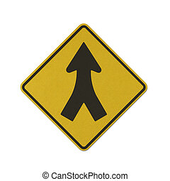 Traffic sign recycled paper - Merging traffic left and right...