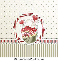 Valentines Cupcake - Valentines card with cupcake and hearts...
