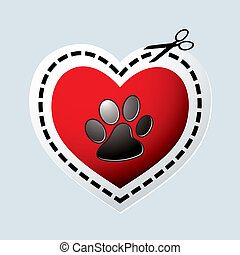 Dog paw heart - Red love heart with dogs paw print and...