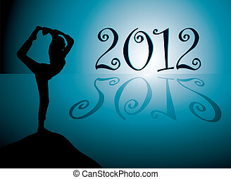 Yoga 2012 - Yoga background with new year 2012 date