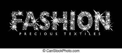 Diamond Fashion - White diamond fashion text with black...