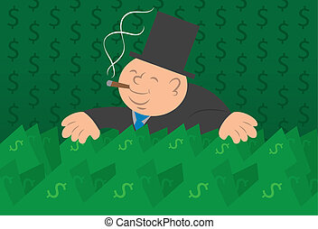Money Man With Cash - Heavy man with a large amount of cash...