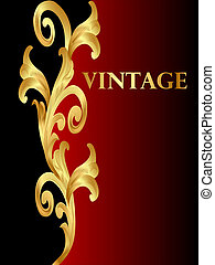 background with winding vegetable golden pattern -...