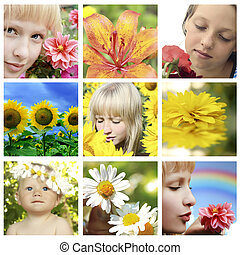Floral collage with flower and closeup faces