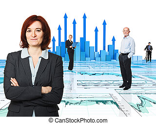 people at work - 3d image of arrows and worker