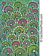 Flowers drawing - Freehand drawing. Stylized floral...