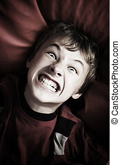 Angry boy portrait - Portrait of angry young boy