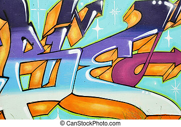 Graffiti wall - Background picture of colorful graffiti wall