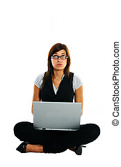 Thoughtful businesswoman with laptop on white background