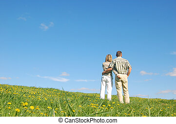 Couple in love on meadow - Couple in love on spring meadow