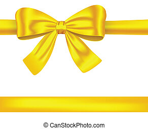 Golden ribbons with bow on white - Golden satin gift ribbons...
