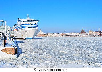Helsinki seaport in winter - Helsinki South Harbor and...