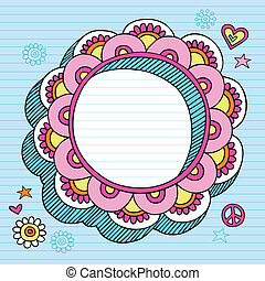 Psychedelic Doodle Picture Frame - Hand-Drawn Psychedelic...