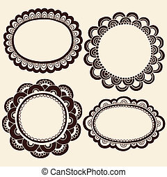 Henna Doodles Picture Frames Vector - Hand-Drawn Abstract...