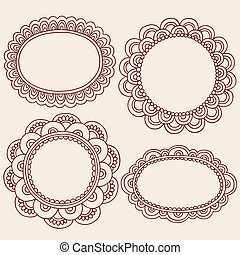 Henna Mehndi Picture Frames Vector - Hand-Drawn Abstract...