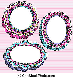 3D Frames Notebook Doodles Vector - Hand-Drawn Psychedelic...