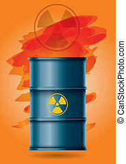 Radioactive waste, barrel with  sign and abstract background