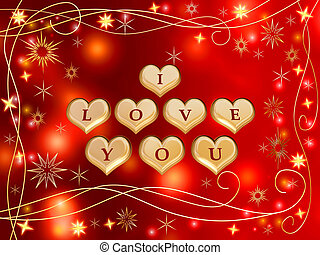 I love you 3 - 3d golden hearts, red letters, text - I love...