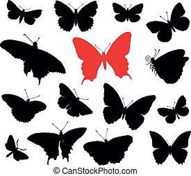 Butterfly collection - Butterfly silhouettes collection...