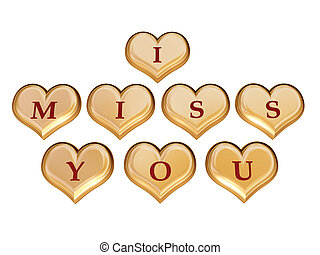 I miss you 1 - 3d golden hearts with red letters with text -...
