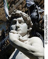 Florencia, -, el, estatua, david, michelangelo, plaza,...