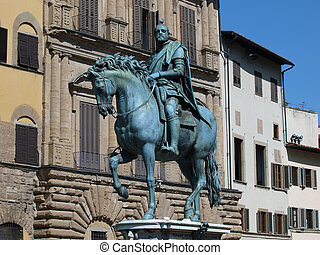 Florence - The equestrian statue of Cosimo I de Medici....