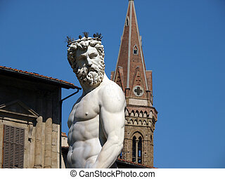 Italia, plaza, Signoria, neptuno, parte, fuente, estatua,...