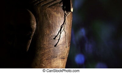 Africa, wood face, rain, zoom - African art, face, carving...