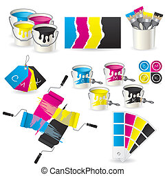 CMYK coloring set  - New CMYK coloring set of eight icons