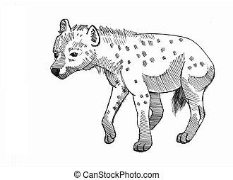 hyena cowering - ink drawing of a cringing hyena