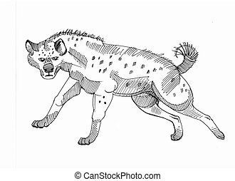 running Hyena - ink drawing of a hyena running