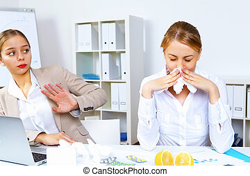 People with cold and flu at work place - Young woman feeling...
