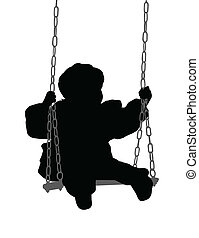 child swinging - vector