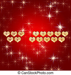 you steal my heart 3 - 3d golden hearts, red letters, text -...