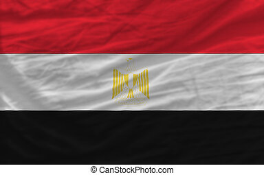complete waved national flag of egypt for background -...